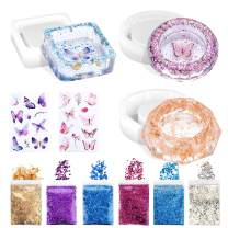 Ashtray Molds for Resin, 3PCS Silicone Epoxy Resin Ashtray Molds with 2 Colors Butterfly Glitter, 3 Colors Holographic Chunky Glitter, Butterfly Stickers and 1pcs Foil Flakes