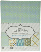 """Darice Patterned 8.5 by 11 Cardstock Paper Pack, Beachside Prints, 8.5""""x11"""" (25 Sheets)"""