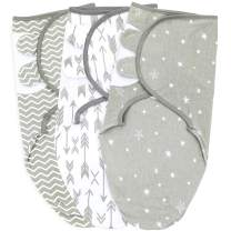 Baby Swaddle Blankets for Newborn Boy and Girl, Large, 3-6 Months Old, 3 Set of Adjustable Infant Wrap, Grey
