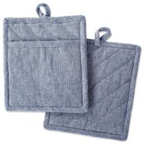 """DII Cotton Chambray Pot Holders with Pocket, 9x8"""" Set of 2, Machine Washable and Heat Resistant Pocket Mitts for Kitchen Cooking and Baking-Blue"""