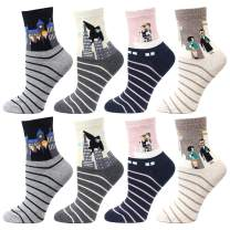 LIVEBEAR Women's 4/5/8/10 Pair Cute Large Print Funny Novelty Crew Socks Made In Korea