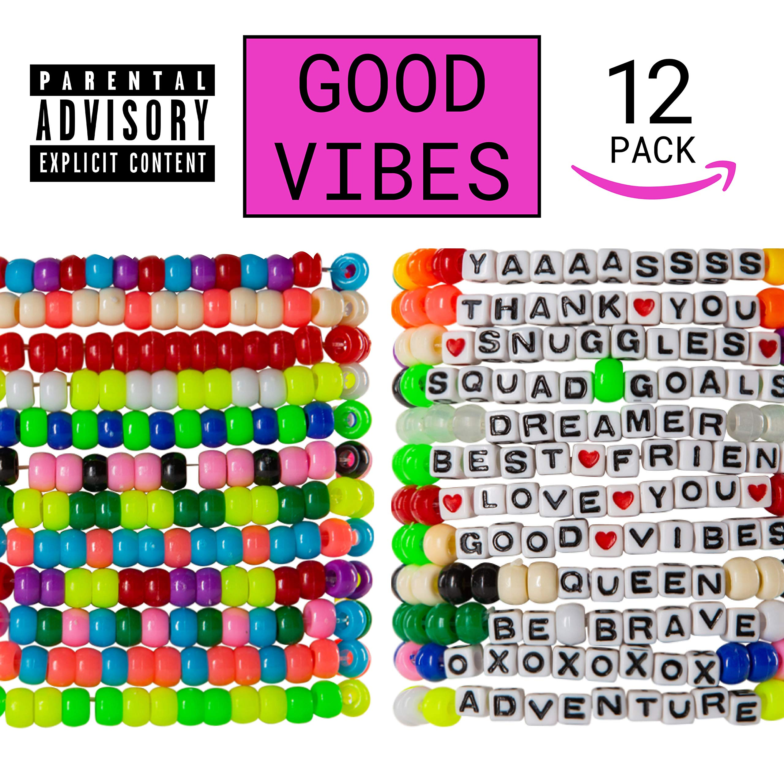 kandi bar Good Vibes Rave Bracelets (12-Pack) | Handmade Plur Accessory for EDM Music Festival Outfits | wear Stylish Colors & Authentic Phrases for Women, Men, NB| Every Pack is Unique | Explicit