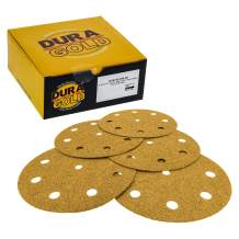 """Dura-Gold - Premium - 60 Grit - 5"""" Gold Sanding Discs - 9-Hole Pattern Dustless Hook and Loop for DA Sander - Box of 50 Finishing Sandpaper Discs for Woodworking or Automotive"""
