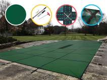 WaterWarden Safety Pool Cover for 16' X 34' in Ground Pool, Green Solid, with Center Drain Panel