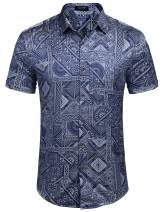 COOFANDY Men's Hawaiian Batik Shirt Tropical Printed Aloha Shirts Summer Button Down Beach Shirt