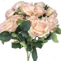 DALAMODA Artificial Flower Rose Flower Silk Rose Bush for DIY Any Decoration Wedding Bouquet Artificial Silk Flower Pack of 2 Bundles Pink Champagne