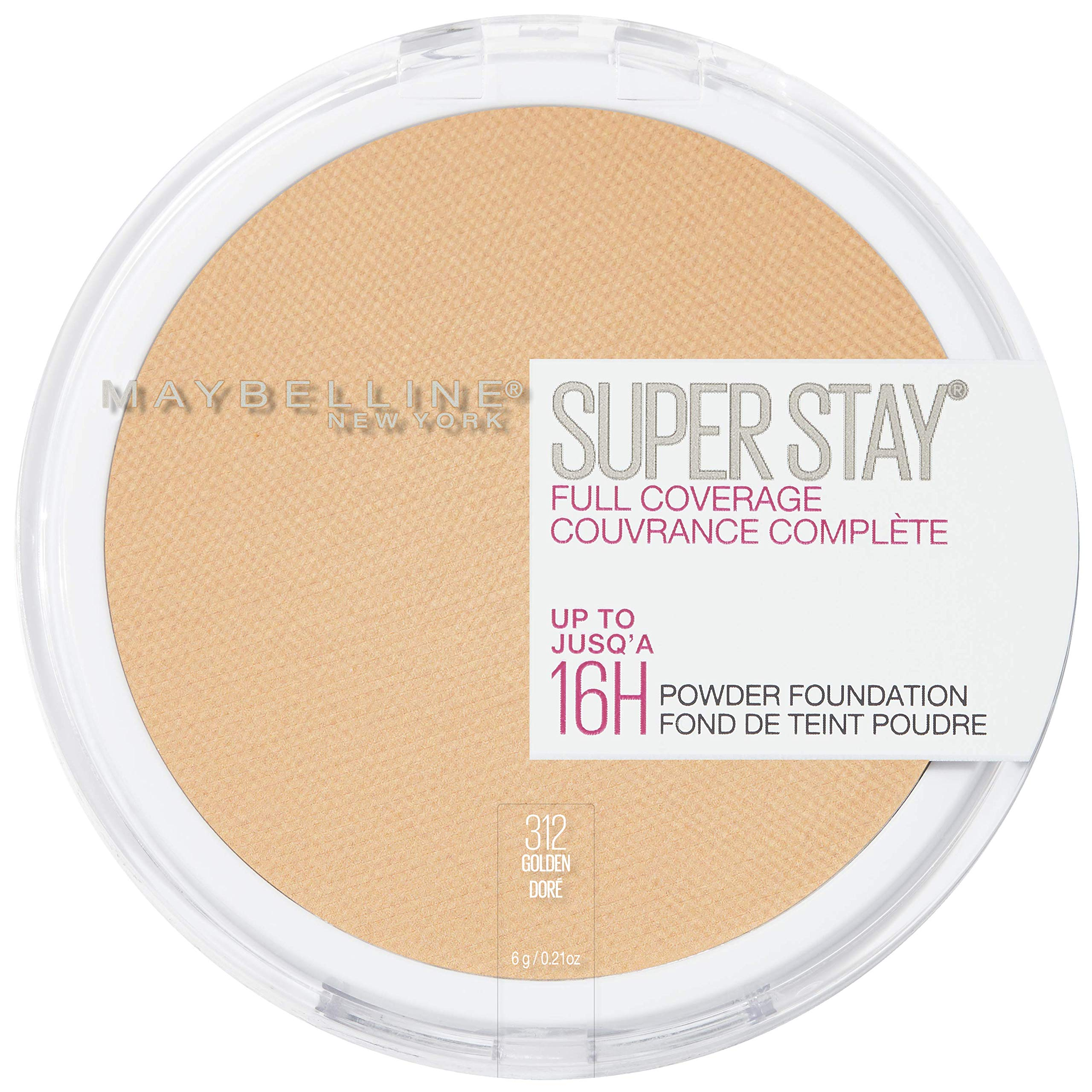 Maybelline New York Super Stay Full Coverage Powder Foundation Makeup, 312 Golden, 1 Count