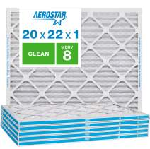 "Aerostar Clean House 20x22x1 MERV 8 Pleated Air Filter, Made in the USA, (Actual Size: 19 3/4""x21 3/4""x3/4""), 6-Pack,White"