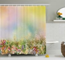 """Ambesonne Flower Shower Curtain, Cosmos Daisy Cornflower Wildflower Dandelion in Floral Meadow Drawing of Nature, Cloth Fabric Bathroom Decor Set with Hooks, 70"""" Long, Pastel Colors"""