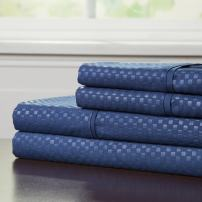 Brushed Microfiber Sheets Set- 4 Piece Hypoallergenic Bed Linens with Deep Pocket Fitted Sheet and Embossed Design by Lavish Home (Navy, King)