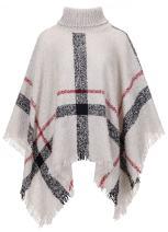 QZUnique Women's Turtleneck Poncho Sweater Knit Cape Pullover Shawl Wrap Tassels