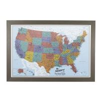 Push Pin Travel Maps Canvas - Personalized Blue Oceans USA with Barnwood Gray Frame