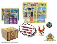 100 Pokemon Card Lot Featuring 1 Random Pokemon Figure - Coin - Foils ! Includes Golden Groundhog Treasure Box!