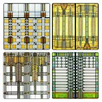 "CoasterStone AS2745 Absorbent Coasters, 4-1/4-Inch,""Frank Lloyd Wright Art Glass Collection"", Set of 4"
