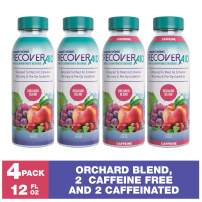RecoverAid (12 oz, 2 Caffeine and 2 Caffeine Free – Orchard Blend) | Colonoscopy Prep Drink |Pre Surgery Drink | Preoperative Drink | Ensure Clear Fluid is Used for Pre Op Nutrition