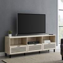 """Walker Edison Modern Slatted Wood 80"""" Universal TV Stand for Flat Screen Living Room Storage Cabinets and Shelves Entertainment Center, 70 Inch, Birch"""