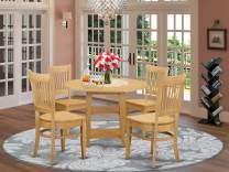 5 Piece Sudbury Set With One Round Dinette Table And Four Slat Back Dinette Chairs With Wood Seat In A Golden Oak Finish.
