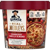 Quaker Real Medleys Steel Cut Oatmeal+, Cranberry Vanilla Almond, Oatmeal Cups, 12 Count
