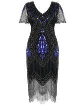 PrettyGuide Women's 1920s Dress Sequin Art Deco Flapper Dress with Sleeve