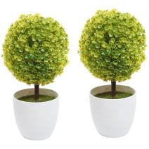 MyGift Set of 2 Artificial Faux Potted Tabletop Yellow Flower Plant Topiary w/White Planter Pots Home