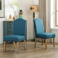 Roundhill Furniture Mod Urban Style Solid Wood Nailhead Fabric Padded Parson Chair (Set of 2), Blue