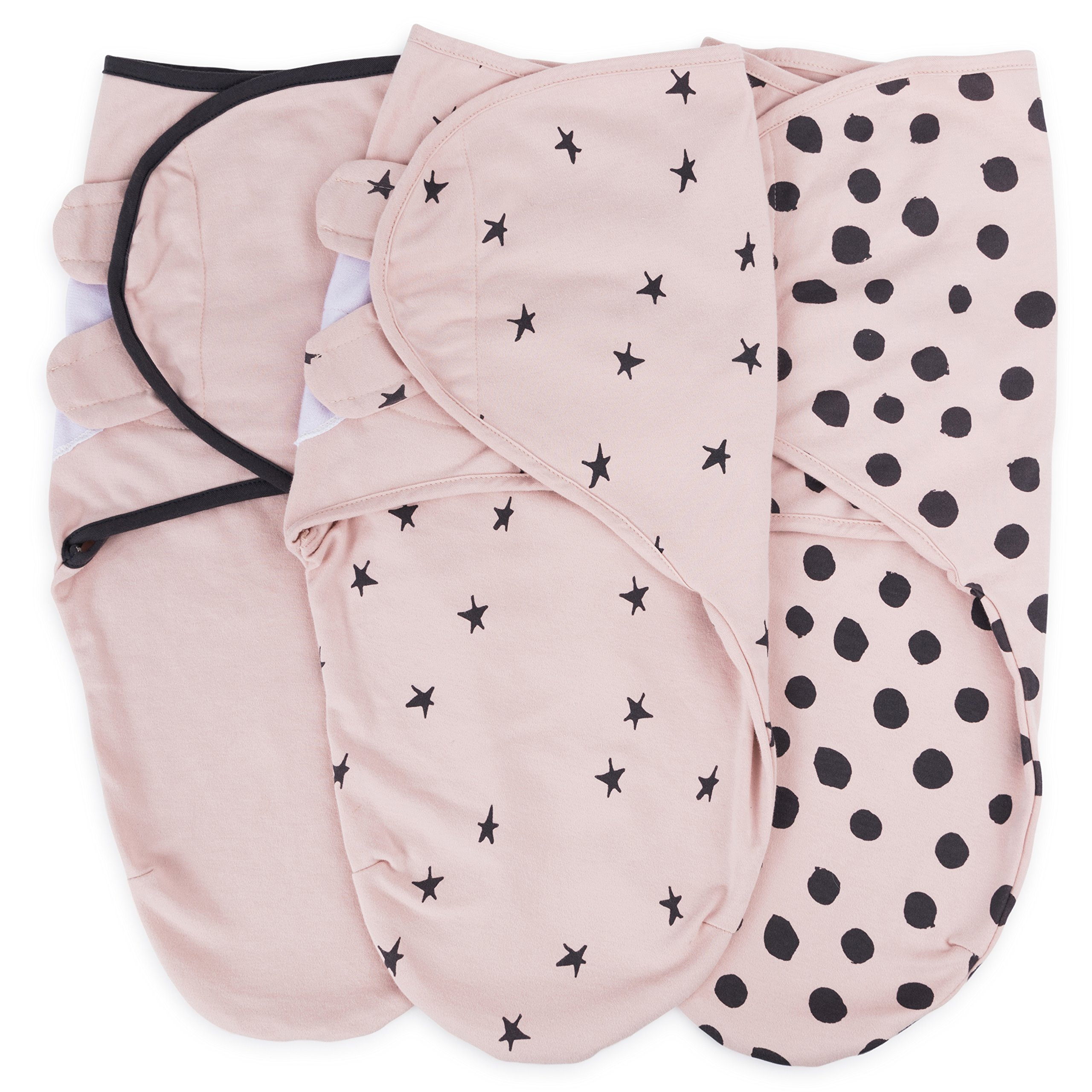 Adjustable Swaddle Blanket Infant Baby Wrap Set 3 Pack 0-3 Months by Ely's & Co. (Blush Pink, 0-3 Months)