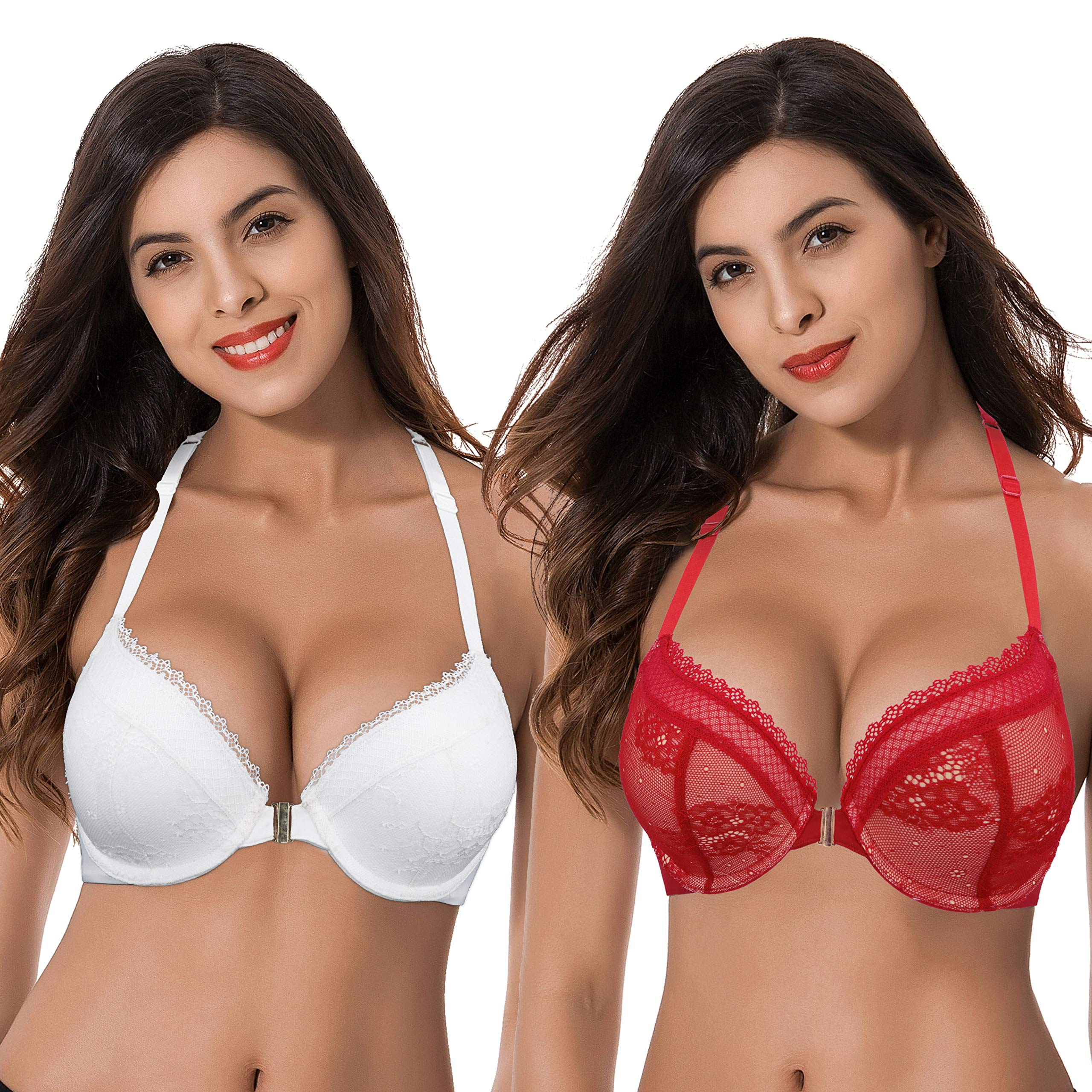 Curve Muse Womens Plus Size Add 1 Cup Push Up Underwire Halter Front Close Bras