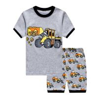 Toddler Boys Pajamas Fire Truck 100% Cotton Kids Train 2 Piece Short Sets Summer Sleepwear Clothes Set 1-7 T