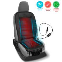 Zento Deals 2 in 1 Cooling Heating Car Seat Cushion Premium Quality Office, Home and Car Seat Cover, Heating for Winter, Cooling for Summer, PU Leather and Mesh Material