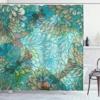 """Ambesonne Dragonfly Shower Curtain, Fantasy Flowers Mixed in Various Tones Shabby Form Feminine Beauty Print, Cloth Fabric Bathroom Decor Set with Hooks, 84"""" Long Extra, Turquoise Amber"""