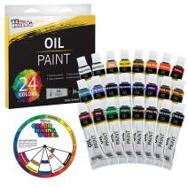 U.S. Art Supply Professional 24 Color Set of Art Oil Paint in 12ml Tubes - Rich Vivid Colors for Artists, Students, Beginners - Canvas Portrait Paintings