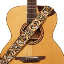 """Amumu Orange Vintage Embroidery Guitar Strap Polyester for Acoustic, Electric and Bass Guitars with Strap Blocks & Headstock Strap Tie - 2"""" Wide"""