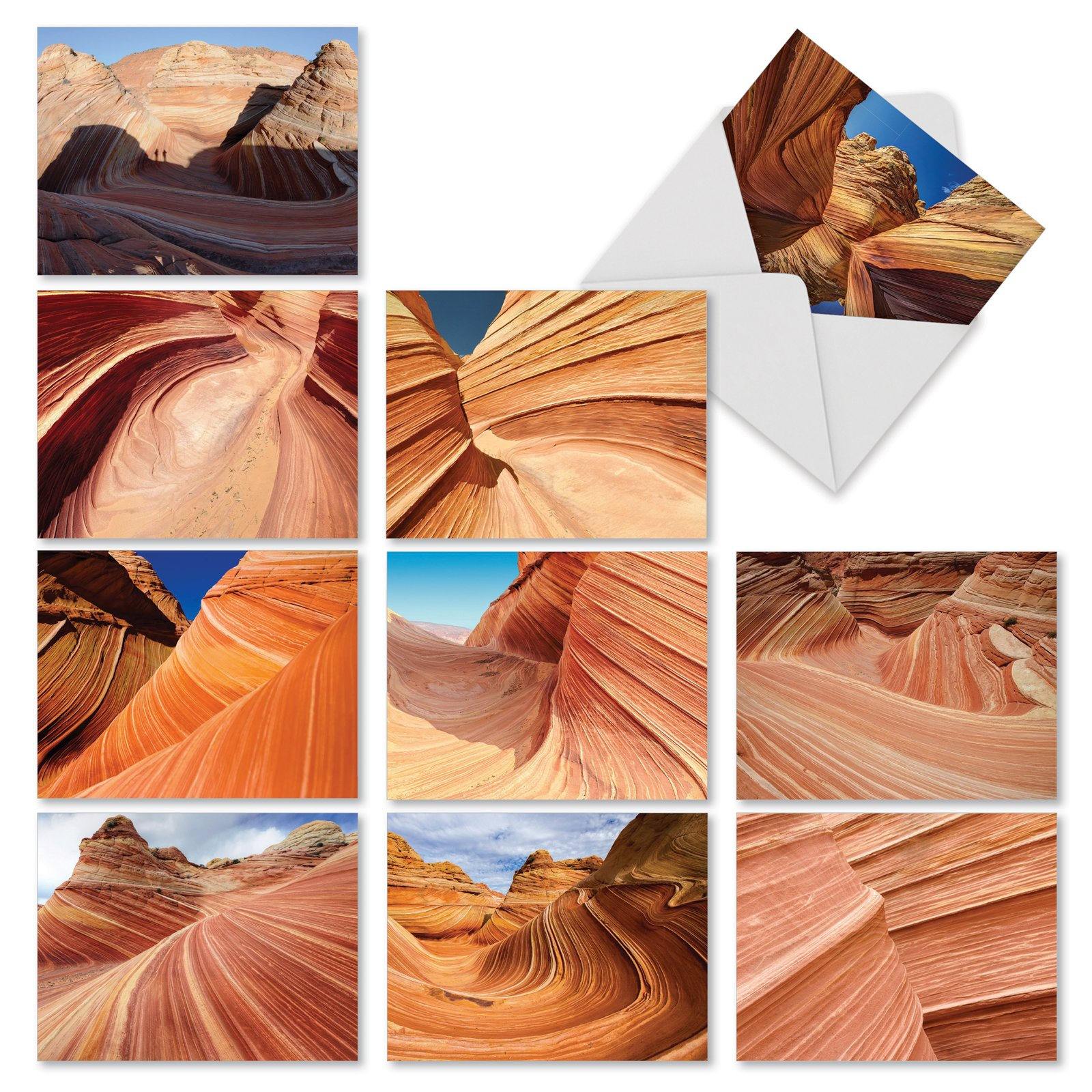 10 'Carved in Stone' Note Cards with Envelopes 4 x 5.12 inch, All Occasion Blank Greeting Cards with Pictures of Stunning Rock formations, Stationery for Weddings, Holidays, Thank You M1730BN