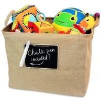OrganizerLogic Jute Storage Basket, Chalkboard and Non Toxic Chalk Marker Included, Customizable Jute Storage Box, Organizing Toys, Shoes, Laundry, Pillows, Blankets, Pet Toys 17 x 13 x 13 Inches
