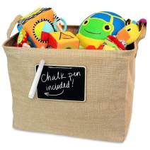 OrganizerLogic Jute Storage Basket, Chalkboard and Non Toxic Chalk Marker Included, Customizable Jute Storage Box, Organizing Toys, Shoes, Laundry, Pillows, Blankets, Pet Toys 17 x 13 x 13 Inches