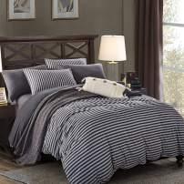 PURE ERA Striped Duvet Cover Sets Jersey Knit Cotton Super Soft 3 PCs Home Bedding Sets 1 Duvet Cover and 2 Pillow Shams Charcoal Dark Grey Queen