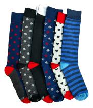 12 Pairs of Cotton Colorful Stripes Patterned Mens Dress Socks Designs Pack B