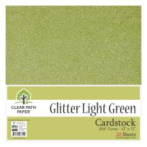 """Glitter Light Green Cardstock - 12 x 12 inch - .016"""" Thick - 20 Sheets"""
