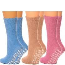 Debra Weitzner Non-slip Hospital Socks Fuzzy Slipper Grip Socks For Women Men 6 Pairs