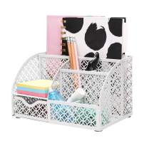 ANNOVA Mesh Desk Organizer Office with 7 Compartments + Drawer/Desk Tidy Candy/Pen Holder/Multifunctional Organizer (White)