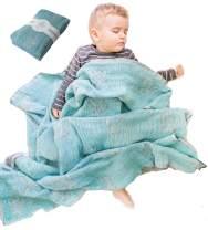 Lightweight Baby Blankets for Girls Boys-Mebien Stroller Crib Nursery Bedding Blanket -Infant Toddler Newborn Unisex -Baby Shower Registry Gifts- Jacquard Elephant Turquoise&Grey 43x47
