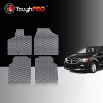 TOUGHPRO Floor Mat Accessories Set (Front Row + 2nd Row) Compatible with Dodge Grand Caravan - All Weather - Heavy Duty - (Made in USA) - Gray Rubber - 2013, 2014, 2015, 2016, 2017, 2018, 2019