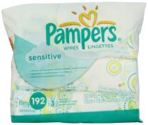 Pampers Sensitive Wipes Travel Pack 64 Count (Pack of 3) 192 Total Wipes