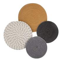 Potholders Set Trivets Set 4pcs 2 Sizes 7 Inches & 9 Inches Diameter 100% Eco Pure Cotton Thread Weave Trivets for Hot Pots and Pans   Kitchen Trivets for Hot Dishes Hot Pot Holders (Touch of Glam)