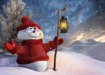 LYWYGG 7x5FT Winter Snow Day Backdrop Red Sweater Snowman Background Snow Background Christmas Backdrops for Photography CP-199