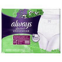 Always Discreet, Incontinence & Postpartum Underwear for Women, Maximum, Large, 17 Count