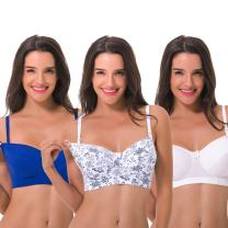Curve Muse Women Nursing Plus Size Wirefree Maternity Unlined Bra with Lace Trim