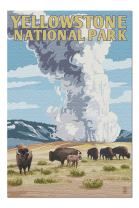 Yellowstone National Park, Wyoming - Old Faithful Geyser and Bison Herd (Premium 1000 Piece Jigsaw Puzzle for Adults, 20x30, Made in USA!)
