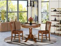 """5Pc Round 36"""" Table And Four Kitchen Wood Seat Chairs"""