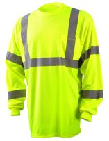 OccuNomix LUX-LSETP3B-Y3X Classic Standard Long Sleeve Wicking Birdseye T-Shirt with Pocket, Class 3, 100% ANSI Wicking Polyester Birdseye, 3X-Large, Yellow (High Visibility)